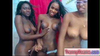 Black Tranny Fucking Ebony And Latina Slut On Webcam
