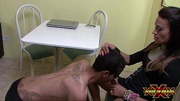 Big Dick Tranny Latina Using Submissive Cock Sucking Male