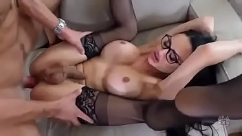 Sexy Big Tits Tranny With Glasses In Deep Anal